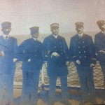 Center: Elmer Martin on the Hudson River. Ferryboat Captains.